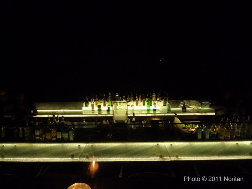 View of the lighted bar.