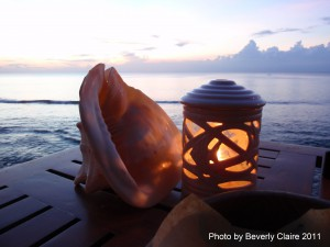 Conch shell and candle.