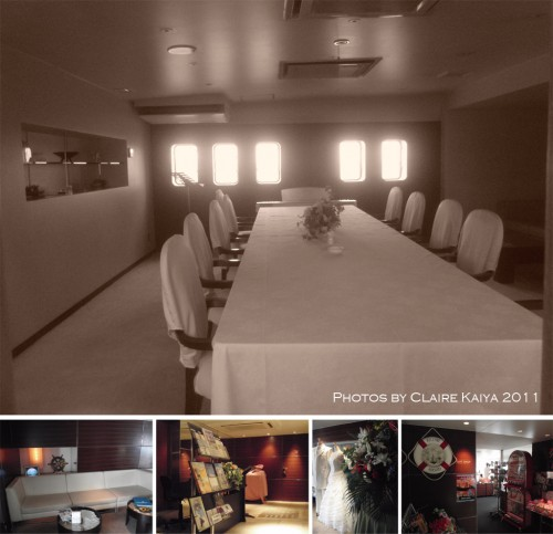 Inside the ship. Top: small room for private parties. Bottom: entrance hall and gift shop