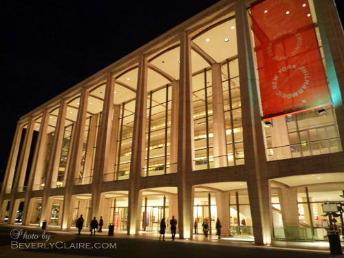 The Avery Fisher Hall at night.