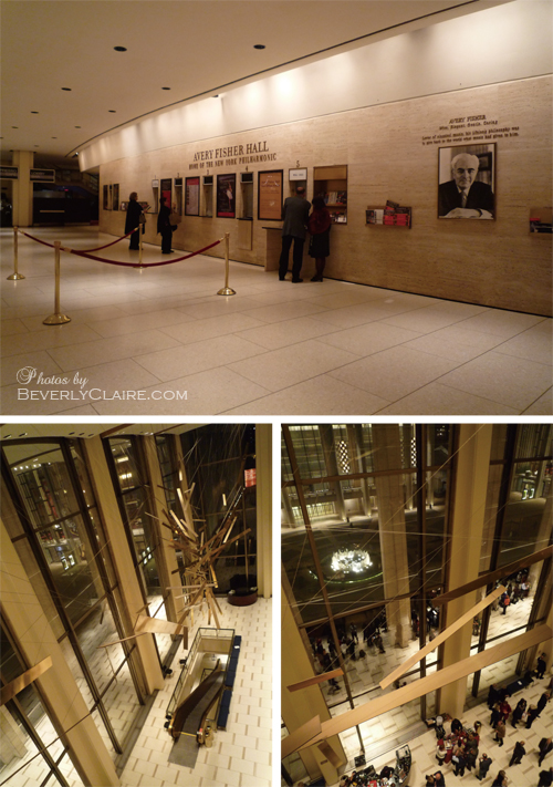 Views of the lobby at the Avery Fisher Hall.