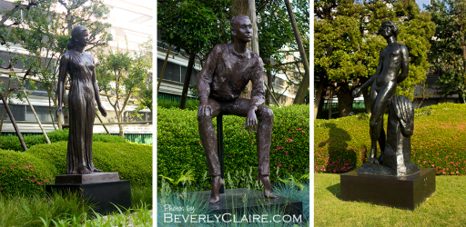 "From left to right: ""Matsurika"" (1978) by Japanese artist Funakoshi Yasutake; ""Nike '83"" (1983) by Japanese sculptor Asakura Kyoko; ""Le Fruit"" (1911) by French sculptor Antoine Bourdelle. 左から右:舟越保武氏の「茉莉花」(1978年)、朝倉響子氏の「ニケ'83」(1983年)、フランス近代彫刻家アントワーヌ・ブールデル氏の「果実」(1911年)"