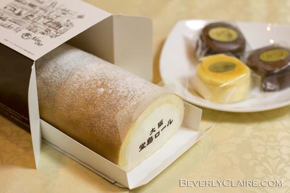 Dojima roll 堂島ロール and chocolate cake とろける生ショコラ from the Mon Cher patisserie.