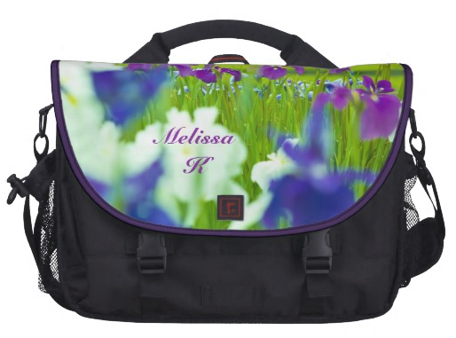 Beautiful Purple Violet Indigo White Irises Garden Laptop Messenger Bag