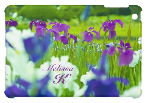 Beautiful Purple Violet Indigo White Irises Garden iPad Mini Case