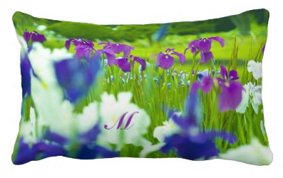 Beautiful Purple Violet Indigo White Irises Garden Throw Pillow