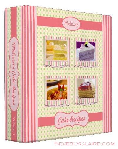 Cake Recipes Pink Green Cream Polka Dots Stripes Binder