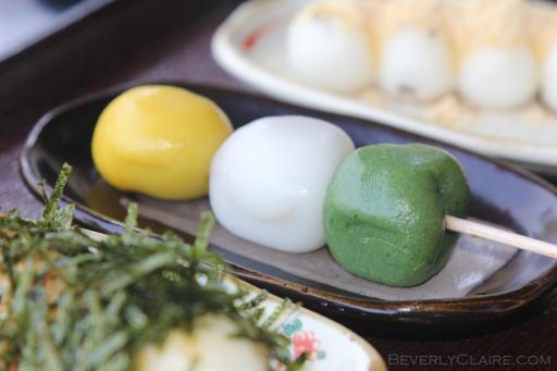 Dango or dumplings sold at Sankeien